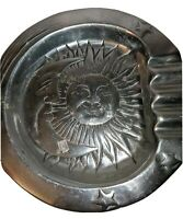 """Pewter Moon And Sun Ashtray 4 Finger 8"""" Mexico Table Shelf Decoration Pewter"""