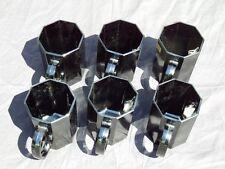 Nuevo Vintage Arcoroc Octime Negro 6x Tazas De Café Tazas De Vidrio Octágono/Francia