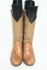 VINTAGE JUSTIN WOMEN 7.5 A BROWN EEL EXOTIC LEATHER FASHION CLASSIC COWBOY BOOTS