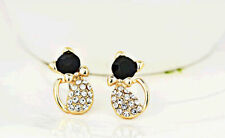 Cute Tuxedo Black Onyx & Crystal Rhinestone Cat Stud Fashion Jewelry Earrings