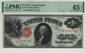 1917 $1 LEGAL TENDER RED SEAL FR.37 ELLIOTT BURKE PMG EXTRA FINE 45 EPQ (670A)