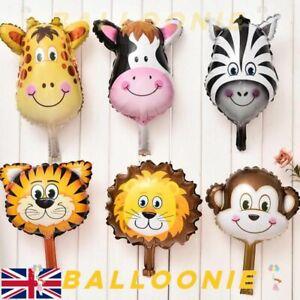 Safari Jungle Animal Head Foil Balloon Kids Inflatable Toy Zoo Theme Party Mini