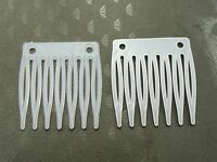 50 White Plastic Mini Hair Clips Side Combs Pin Grip Pins 32mm with hole