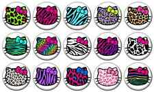 "HELLO KITTY ANIMAL PRINT - Lot of 15 Pin Back 1"" Buttons Badges (One Inch)  Set"