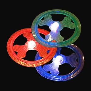 3 X Dog Pet Flying Disc (23CM) Flashing Light Frisbee Throw Durable Outdoor Toy