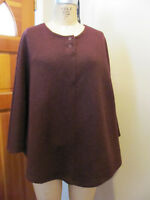 Ladies 100% wool Poncho One Size Fits All Burgundy/Maroon