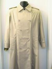London Fog Trench Coat Tan Sz 12 Petite Double Breasted Cap Back Belt Epaulets