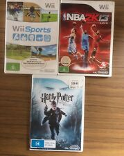 Nintendo Wii Games X 3 Wii Sports, Harry Potter & NBA 2K13