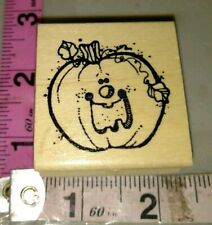 Big mouth laughing country pumpkin, Hook line, Halloween, 212,rubber stamp, wood