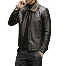 Mens Winter Faux Leather Jacket Long Sleeve Zipper Warm Motorcycle Coat Casual