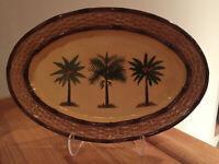 "Pacific Rim Palm Tree 14 1/2"" oval Coconut Palm Basket Weave Platter EUC & RARE"