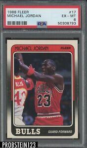 1988 Fleer Basketball #17 Michael Jordan Chicago Bulls HOF PSA 6 EX-MT