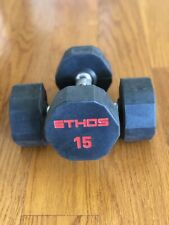 BRAND NEW 15LB PAIR OF RUBBER  HEX DUMBBELLS WEIGHTS