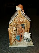 VINTAGE PETER FAGAN CAT & DOG IN SHED HAND PAINTED MADE IN SCOTLAND SIGNED,1988