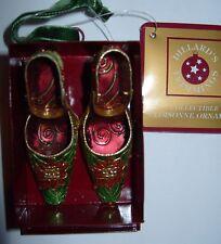 NIB Vtg Cloisonne Poinsettia Shoes in box Hanging  Ornament Dillards Enamel