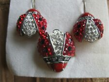 ENAMELED & RHINESTONE LADY BUG RING AND PIERCED EARRINGS SET RED BLACK SILVER