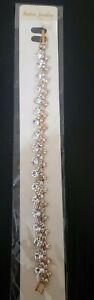 Women Fashion Diamonte Gold Bracelet Wedding, Party Wear, Uk Seller