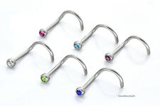 Set 6 Naso Borchie a vite - 2mm Ball-Viola, Blu, chiari, verdi, rosa, Aqua 0,8 mm