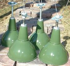 "1-12"" BENJAMIN Porcelain Pendant Industrial Green Vintage Enamel Barn Lamp Light"