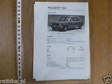 PE16-PEUGEOT 104 1972-1973 -TECHNICAL INFORMATION