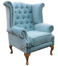Chesterfield Queen Anne High Back Fireside Wing Chair Duck Egg Blue Fabric Yew