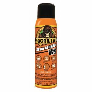 Gorilla 6301502 Spray Adhesive, 14 Oz, Aerosol Can, Begins To Harden In 1 To 2