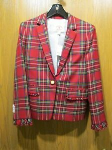 Brooks Brothers Red Fleece Red Plaid Wool Blazer Jacket Size 6 NEW