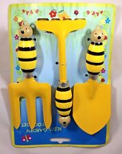 Bubble Bee Garden Tool Set 3 Piece for Children Themed Yellow Metal Bee Handles