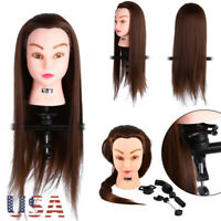 Pro Salon Hairdressing Real Hair Practice Training Head Mannequin Doll + Clamp