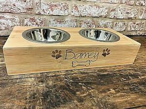 Personalised Pet Bowl, Dog and Cat Bowl, Bamboo Dog or Cat Food Holder, Pet Gift