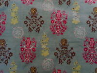 Vintage Mid Century Modern Abstract Fabric Remnant from drapes Blue Brown Pink