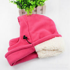 Kid Pink Winter Full Face Neck Mask Cap Hat Thermal Fleece Thicken Ski Balaclava