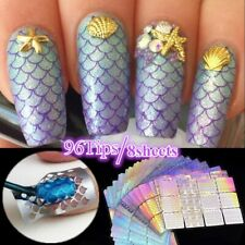 8pcs Laser Holographic Nail Hollow Sticker Guide Stencil Irregular Pattern Mixed