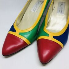 Vtg 1980's Calico Shoes Heels Pumps 8 M Leather Red Blue Yellow Green No Scuffs