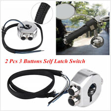 2 Pcs Silver CNC Aluminum Motorcycle Cafe Race 3 Buttons Self-Latch Lock Switch