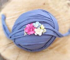 Antique Blue Soft Cotton Jersey Stretchy Wrap Headband Baby Newborn Photo Prop