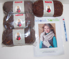 Mew Deborah Norville Crochet Kit Cowl Mittens Serenity Tweed Yarn Brown Chunky