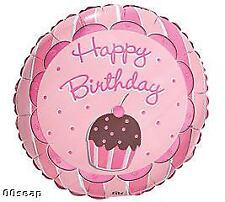 Pink & Brown CUPCAKE Happy Birthday Sweet Treats Mylar Party Balloon