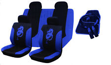 13pc Blue DRAGON Car Seat Cover Set + 4 Mats + Steering Wheel Cover +2 Belt Pads