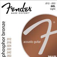 Fender 60L Acoustic Guitar Strings Light Set 12-53 Phosphor Bronze Ideal Strings