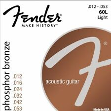 Fender 60L Acoustic Guitar Strings Light Set 12-53 Phosphor Bronze Ideal Strings