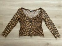 Love Moschino Leopard Heart V-Neck Jumper Top Women's Ladies Size - UK 16 IT 48