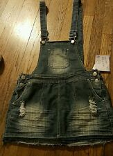 Juniors SZ 9 Almost Famous Denim Dress/Jumper/Bibs~Distressed