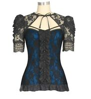 Black Blue Gothic Victorian Steampunk Lace Stretch Shirt Top Blouse