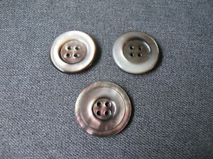 3 Vintage abalone mother of pearl gray rounded different buttons  4j