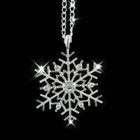 Silver Snowflake Stars Rhinestone Crystal Christmas Necklace Earrings Jewelry