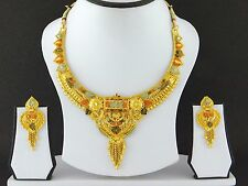 Indian Bollywood Fashion Jewelry Gold Plated Women Wedding Necklace Earrings Set
