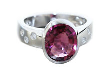 Ring Weißgold 585 Brillanten pink Turmalin 3,19 ct. Brillantring 0,12 ct. Damen