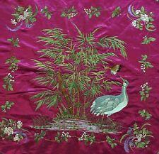 Antiguo Chino Mano Bordado Paisaje, Banner, Colgante De Pared dinastía Qing