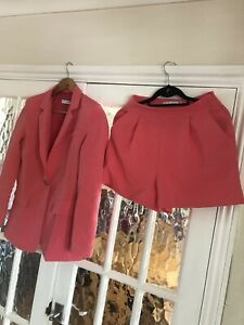 Pink/coral Blazer Jacket  And Short Suit Set Size S New
